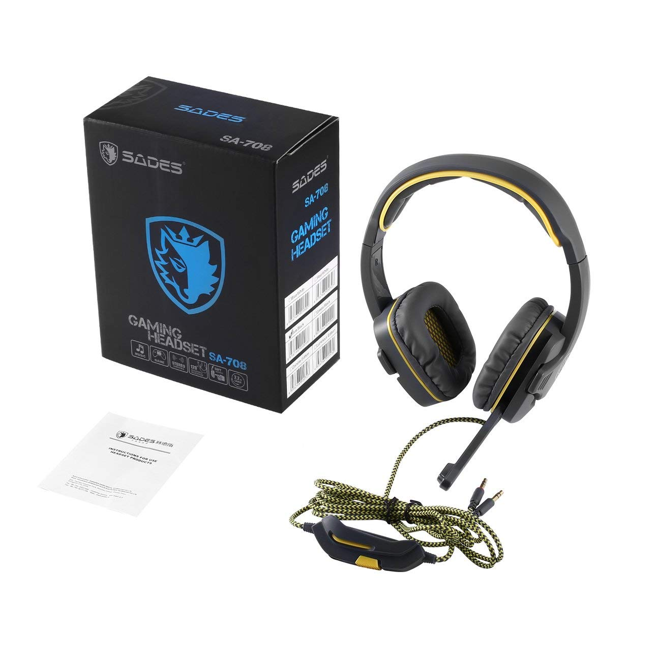 Liobaba Gaming Headsets with Microphone Stereo Wired Earphone Noise-Canceling for Computer PC Gamer Fit for SADES SA708