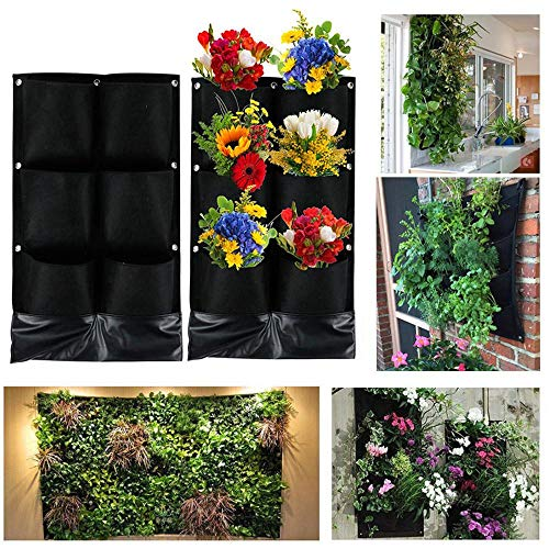 Go2buy 6 Pockets Vertical Garden Living Wall Hanging Planter Flower Pouch Green Field Pot Felt Indoor/Outdoor Wall Mount Balcony Plant Grow Bag for Herbs Vegetables and Flowers