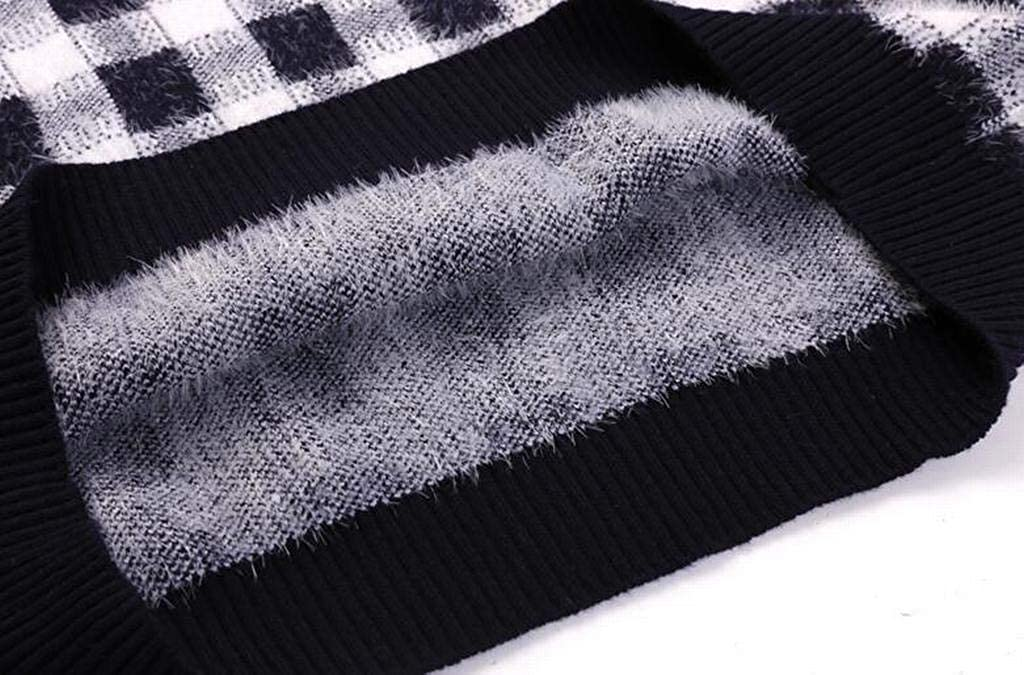 XTX Mens Checkered Knit Round Neck Fluffy Casual Pullover Sweater Jumper Top