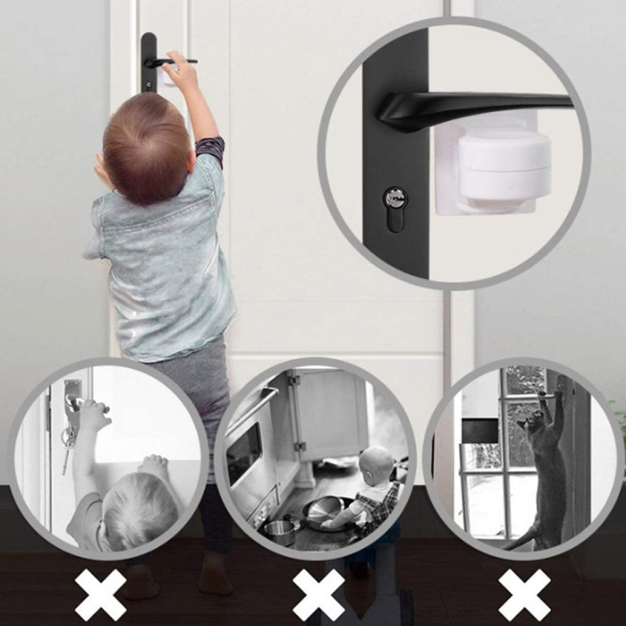 Keppels Notable Door Lever Lock for Home Baby Safety Door Handle Locks Kids Anti-Open Protector None A
