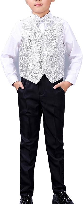 GladiolusA Conjunto De Fiesta Boda para Niño Chicos Camisa + Pantalones + Chaleco + Pajarita Traje De Ceremonia