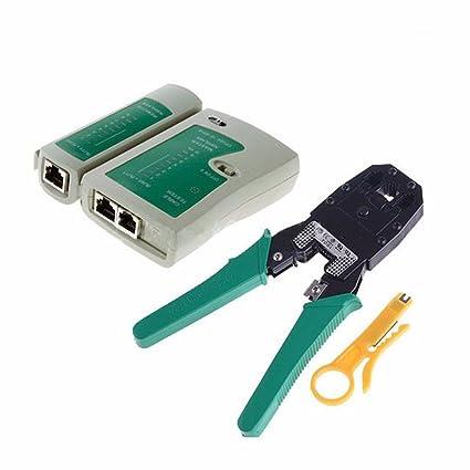Generic RJ45 RJ11 RJ12 Red crimpadora pelacables alicates herramientas y cable tester Set