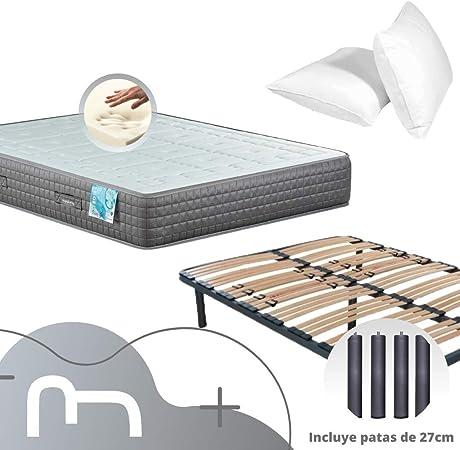 Dulces Sueños Pack COLCHON VISCOELASTICO Premium + SOMIER + Patas + Almohada VISCO (150 x 190 cm): Amazon.es: Hogar