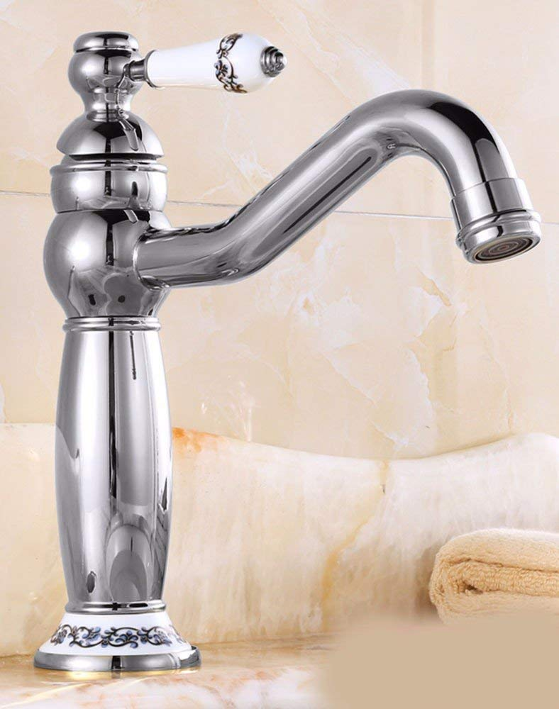 15 Oudan Basin Mixer Tap Bathroom Sink Faucet The gold in the basin, ceramic, hot and cold, Swivel, Chrome Plated Faucet 22 (color   5)