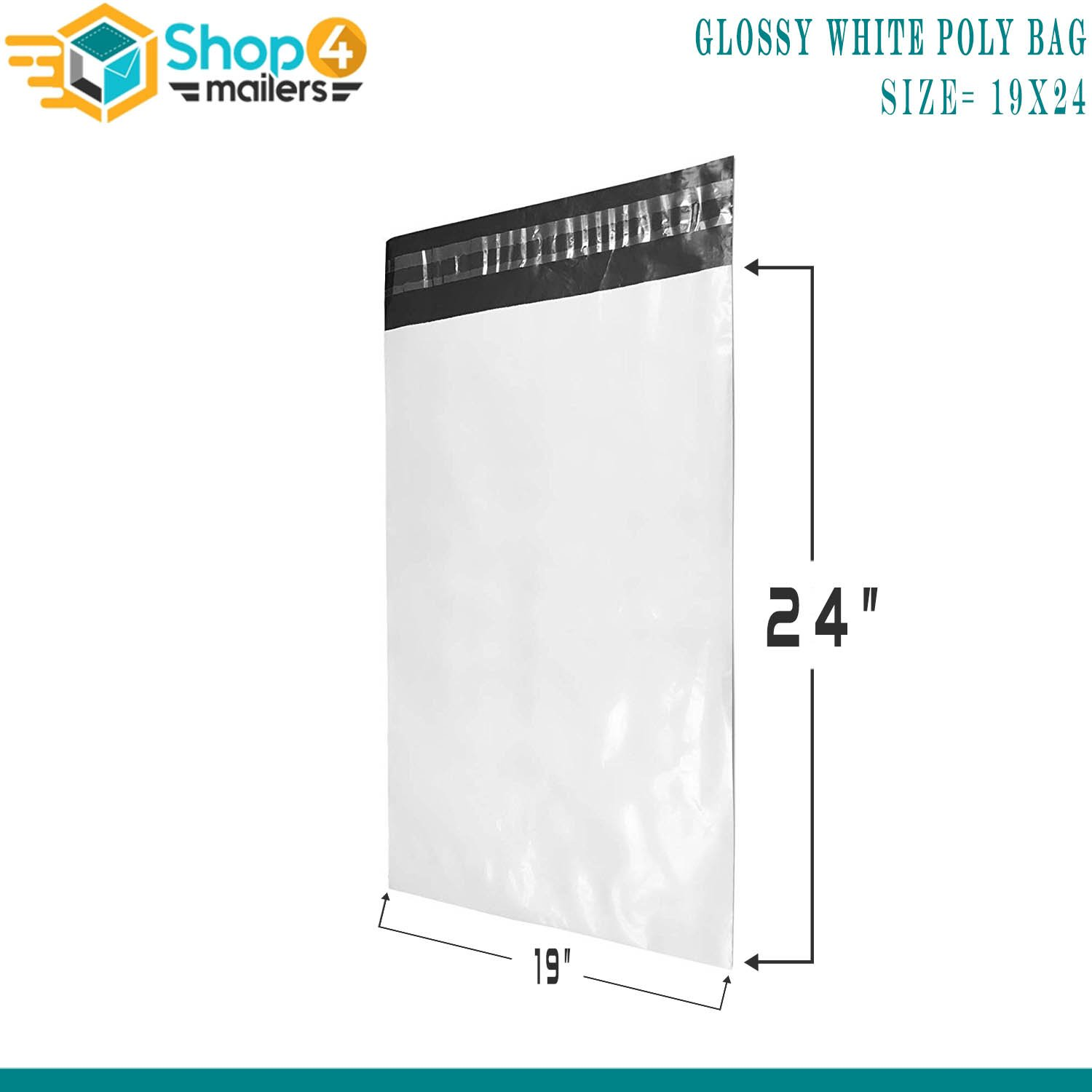 50 Pack Shop4Mailers 19 x 24 Glossy White Poly Bag Mailer Envelopes 2 Mil
