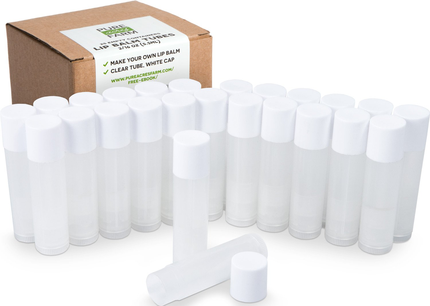 25 Lip Balm Containers - Empty Tubes - Make Your Own Lip Balm - 3/16 Oz (5.5ml) - Color: Natural Clear (Translucent) Greenvida Lip-Balm-Containers-Tubes