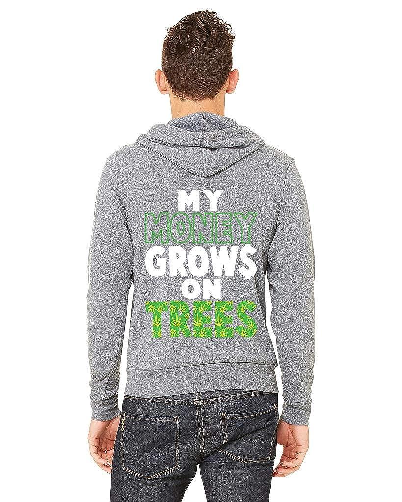 Mens My Money Grows On Trees C9 Gray Fleece Zipper Hoodie Gray