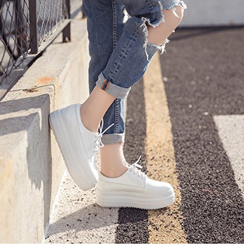 Btrada Moda Casual Piattaforma Scarpe Stringate In Alto Spessore Scarpe Da Ginnastica Antiscivolo Comfort Bianco