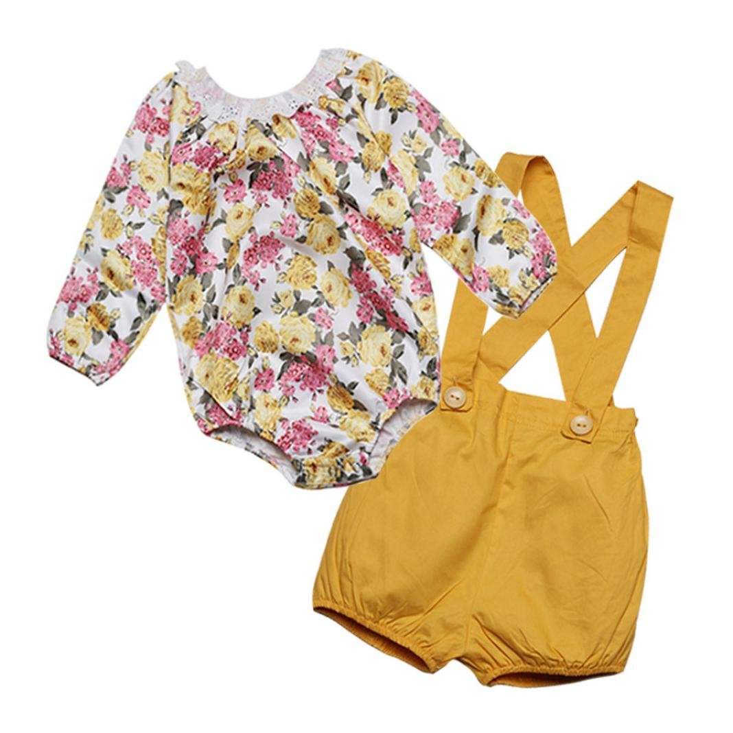 For 0-4 years old,Clode® Cute Toddler Kids Baby Girls Floral Lace Romper Tops and Shorts Pants Set 2PCS Outfit Clode-T65