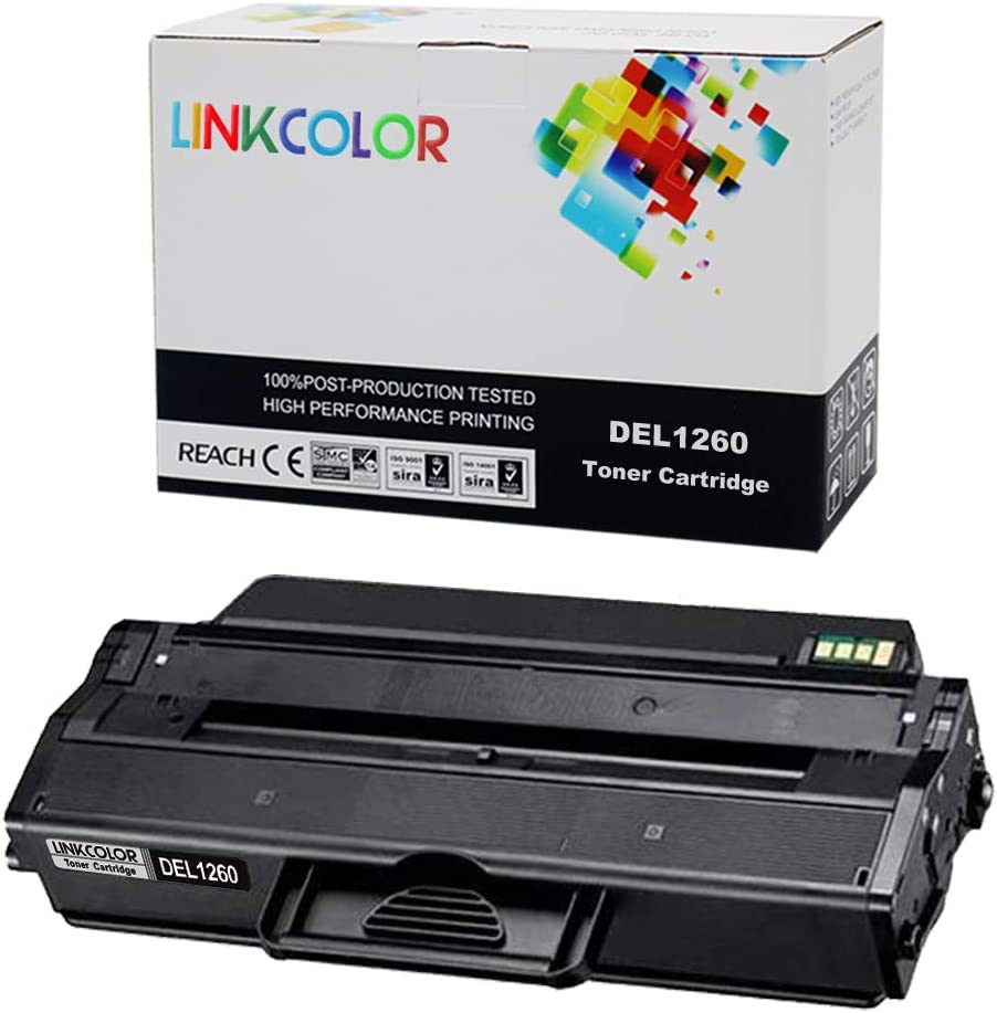 Linkcolor Compatible B1260 Toner Cartridge Replacement for Dell 1260 1265 Toner Cartridge for Dell B1260dn Dell B1265dnf Dell B1265dfw Laser Printer Black 1-Pack