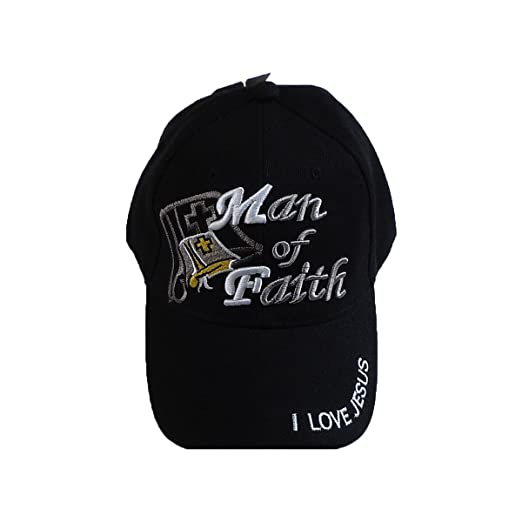 7cc95ce2ccc Amazon.com  Man of Faith I Love Jesus Adjustable Baseball Cap