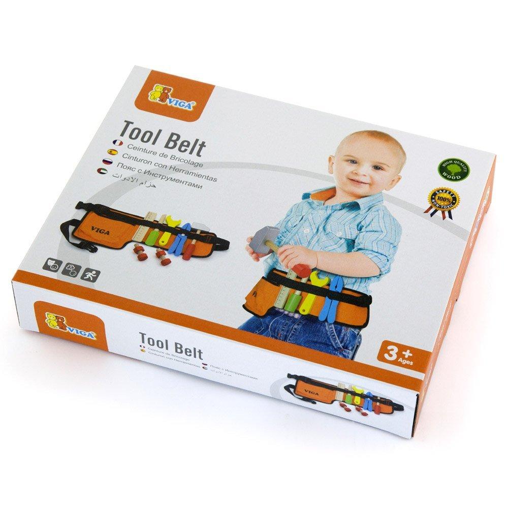 Childrens Wood Toy Building Playset Viga Wooden Tool Set /& Work Belt