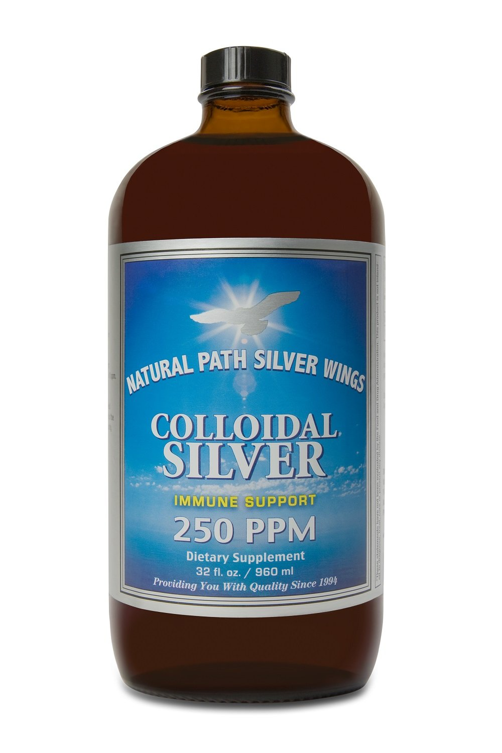Natural Path Silver Wings Colloidal Silver Mineral Supplement, 250 Ppm, 32 Fluid Ounce