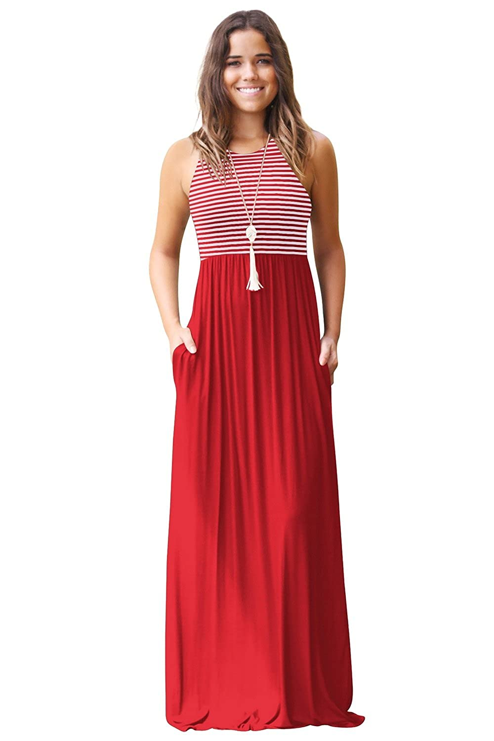 JYUAN Womens Summer Sleeveless Crew Neck Casual Striped Maxi Dress Tank Long Maxi Dress with Pockets JY-FD3115