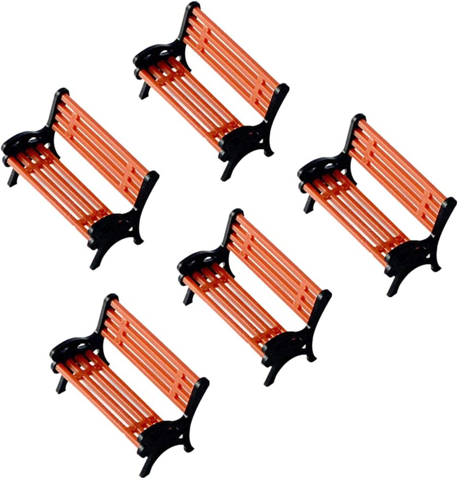 5 piezas Park Street asiento silla modelo de banco DIY Material hecho a mano Micro Hada Mini adorno de jardín tren de construcción accesorio de mesa de arena