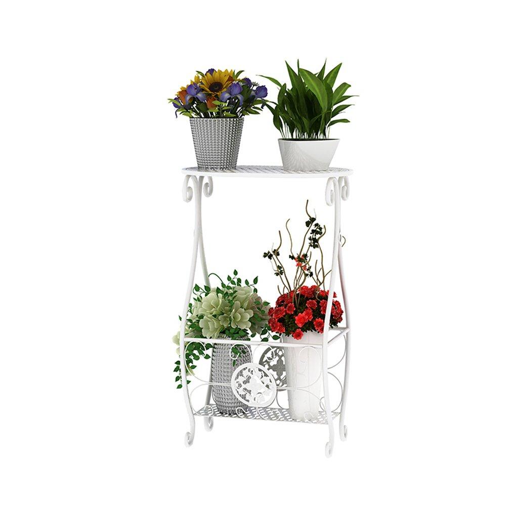 Flower Stand PHTW HTZ Racchetta Da Fiore In Ferro Da Interno, Scala A 2 Piani Raffinato Per Vaso Da Fiori In Metallo, Bianco Dimensioni 34x23x56.5cm ++