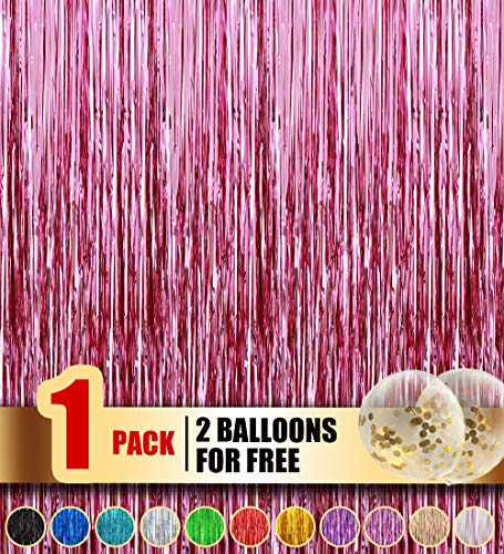 Happy Time Tinsel Foil Fringe Curtains - 3.2 ft x 9.8ft Metallic foil Fringe Backdrop for Birthday Wedding Party Christmas Photo Backdrop Decorations 3500+ Instagram Like(Light Pink,1 Pack)