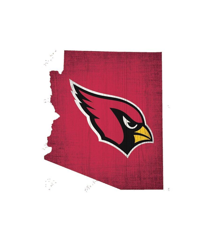 Fan Creations Arizona Cardinals Wood Sign 12 Inch State Shape Design