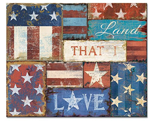 CounterArt 'Patriotic Patchwork' Glass Cutting Board, 15 x 12