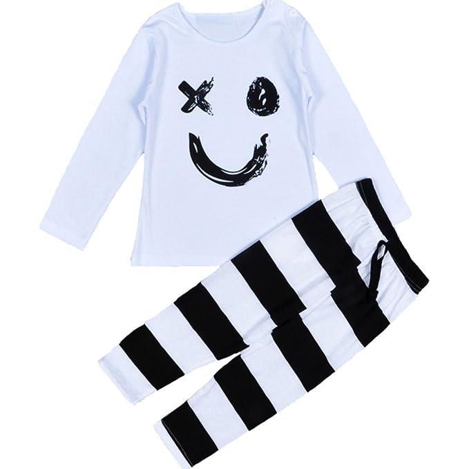 ZYS Niña Otoño Ropa Conjuntos Moda Blusas Manga Larga Sonrisa Tops Rayas Pantalones Venda Bebé Vestidos