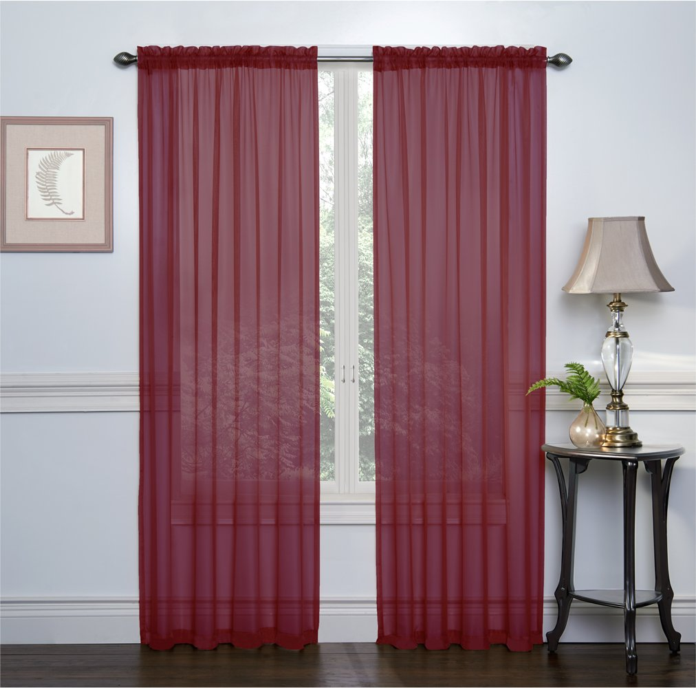 2 Pack: Ultra Luxurious High Thread Rod Pocket Sheer Voile Window Curtains by GoodGram® - Assorted Colors Burgundy