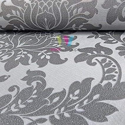 . Holden D cor Clara Damask Pattern Wallpaper Glitter Motif Metallic Textured  Vinyl  Charcoal 35391