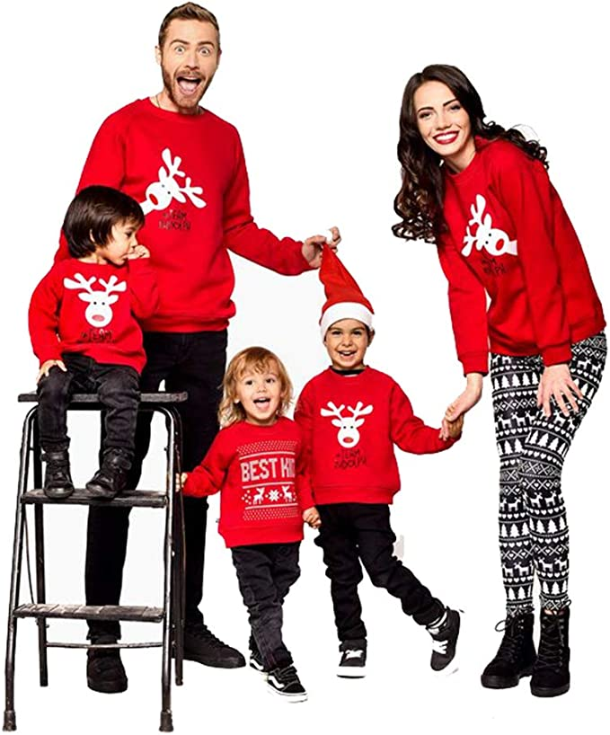 Family Matching Christmas Sweaters Sets Holiday Deer Long Sleeve Tops For Mom Dad Kids Amazon Ca Clothing Accessories
