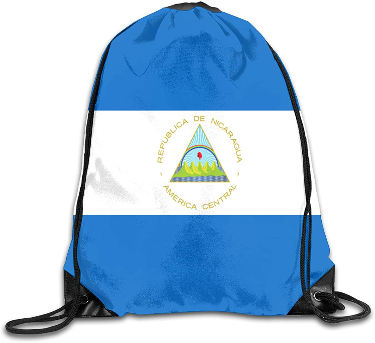 Flag Of Nicaragua Beam Mouth Backpack Pull Rope Shoulder Bag Outdoor Sports Leisure Bag
