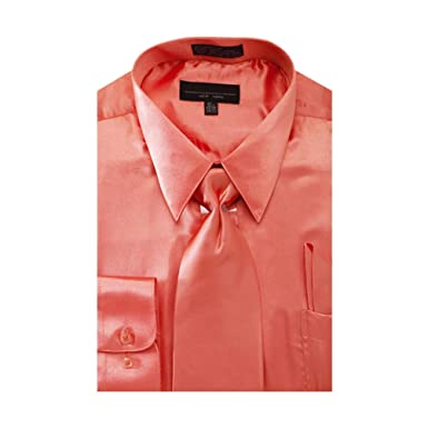 Men's Solid Color Satin Dress Shirt at Amazon Men's Clothing store ...