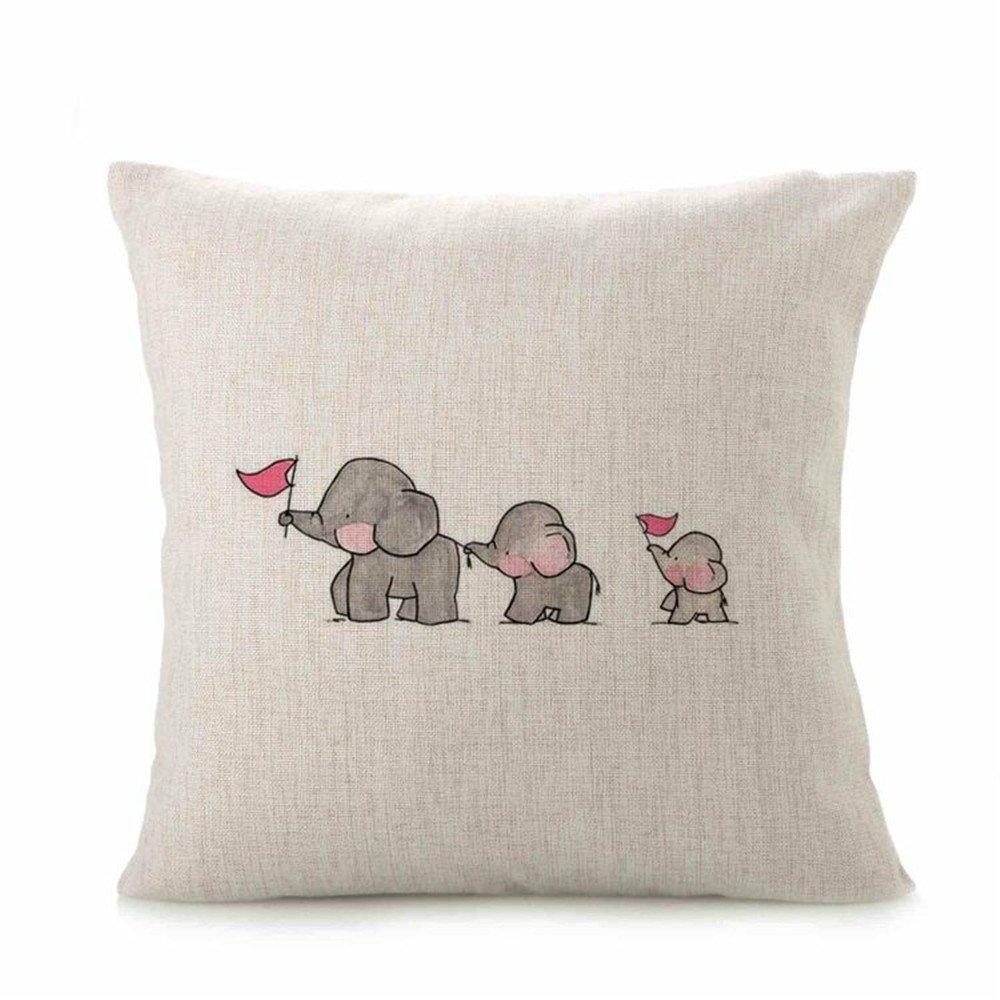 Cute Animal Cushion Cover, Indexp Soft Warm Sofa Home Decoration Throw Pillow Case Gift Set (Elephant, 43x43cm)