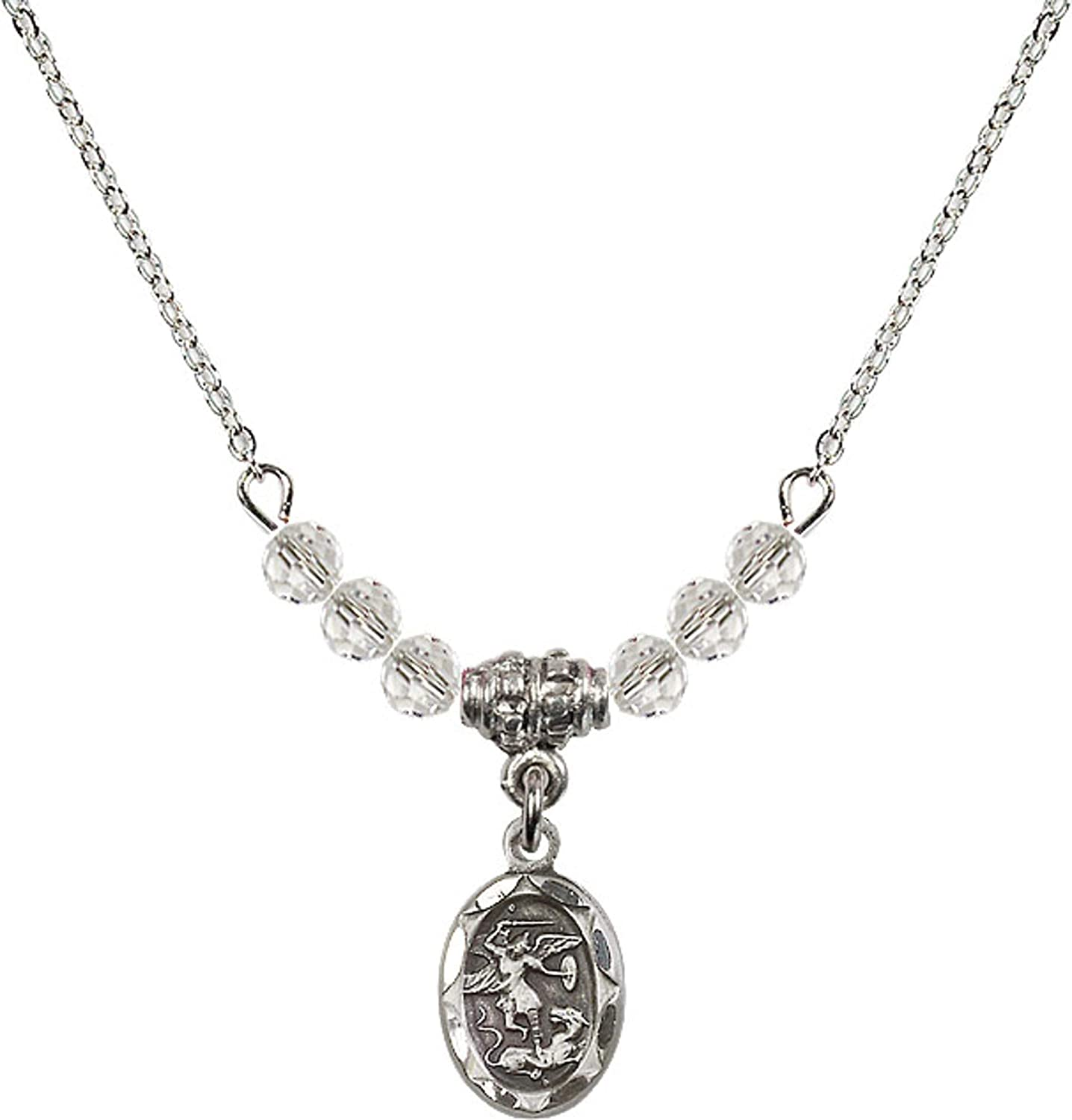 Bonyak Jewelry 18 Inch Rhodium Plated Necklace w// 4mm White April Birth Month Stone Beads and Saint Michael The Archangel Charm