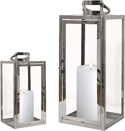 FineHome - Juego de 2 faroles de jardín de acero inoxidable, farolillos de cristal plateados de 30/40 cm, color plateado: Amazon.es: Hogar