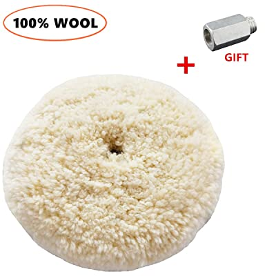 """Sisha Double Sided Wool Buffing Pad with 5/8"""" Extender Bolt Adapter, 7"""" Polishing Pad for Compound, Cutting & Buffing, 100% Natural Wool, Thick and Aggressive: Automotive"""