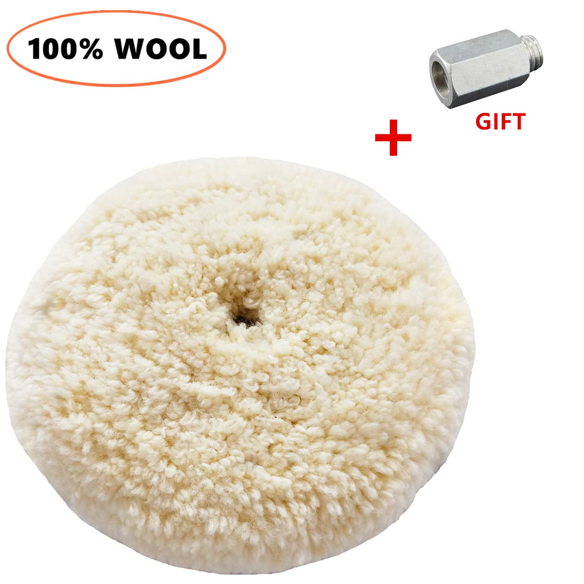 Sisha Double Sided Wool Buffing Pad with 5/8'' Extender Bolt Adapter, 7'' Polishing Pad for Compound, Cutting & Buffing, 100% Natural Wool, Thick and Aggressive