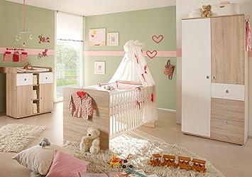 Babyzimmer set günstig kaufen  Babyzimmer-Set 3-teilig WIKI Eiche Sonoma / weiß: Amazon.de: Baby