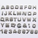 Okeler 1 Set 40 Pcs Silver Car Logo Auto 3D Emblem Badge Sticker Chrome Letters Number with Free Pen