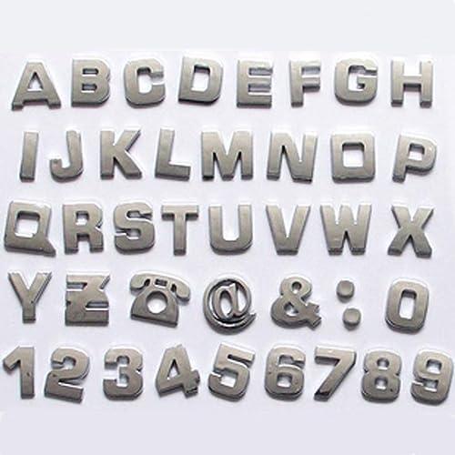 okeler 1 set 40 pcs silver car logo auto 3d emblem badge sticker chrome letters number