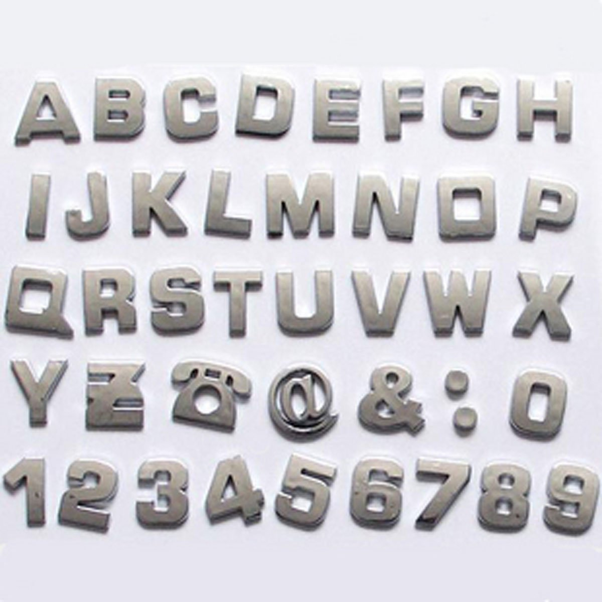okeler 1 set 40 pcs silver car logo auto 3d emblem badge sticker chrome letters number with free pen