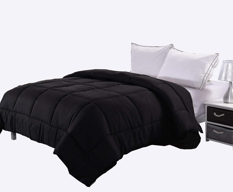 Ghooss All Season Black Bedding Down Alternative Comforter -Hotel Quality Luxury Quilt with Corner Tabs-Hypoallergenic-Super Microfiber Fill -Machine Washable-Queen