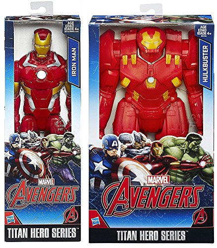 "Marvel Titans Iron Man Classic & Hulkbuster Big Red Titan 2-Pack 12"" Super War Hero action Figures Battle set"