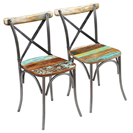 Vintage Industrial Dining Chairs 2 Pcs Retro Style Kitchen Dinner Room  Furniture Set Of 2 Handmade