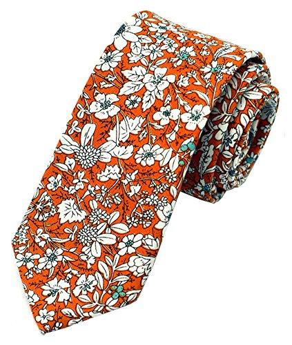 Secdtie Men's Skinny Tie Fashion Causal Cotton Floral Printed Linen Necktie (Orange Pattern Tie)