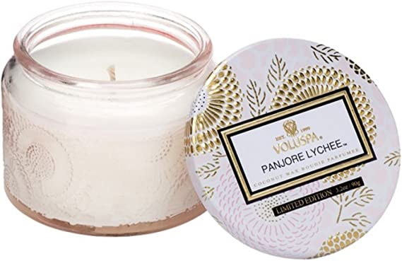 Voluspa Panjore Lychee Petite Embossed Glass Jar Candle 3 2 Ounces Home Kitchen