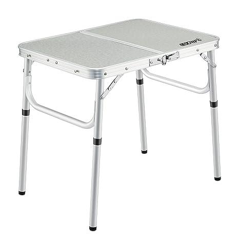 REDCAMP Small Folding Table Adjustable Height  23.6u0026quot;x15.7u0026quot;x10.2u0026quot;
