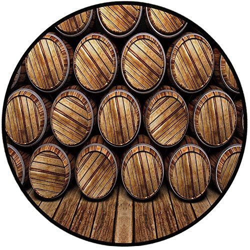 Printing Round Rug,Man Cave Decor,Wall of Wooden Seem Barrels Cellar Storage Winery Rum Container Stack Mat Non-Slip Soft Entrance Mat Door Floor Rug Area Rug For Chair Living Room,Broen Light Brown