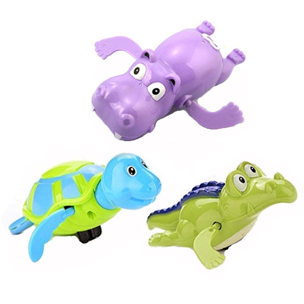 New Born Bath Toys, Morbuy 3 PCS Swim Floating Wound-up Chain Small Animal Baby Bath Toy Color Random (Style 1(3pcs))