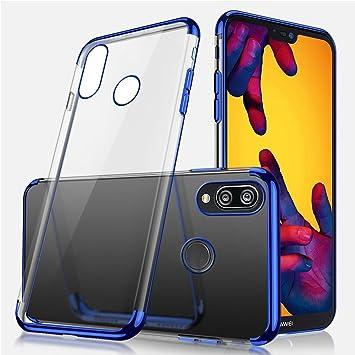 Uposao Compatible con Huawei P20 Lite Funda Silicona,Transaparent Bling Glitter Brillante Brillo Paillettes Funda + Metal Liquid Crystal Ultra Hybrid ...