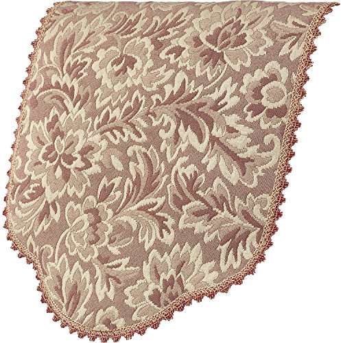 Decorative Antimacassar Chair Back Traditional Floral Jacquard (Dusty Pink)