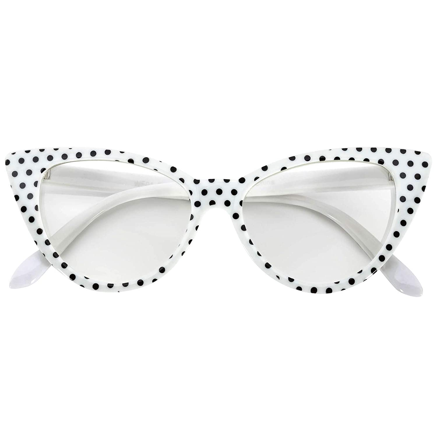 640a258da511 Amazon.com  Vintage Cat Eye Clear Lens Eyeglasses White Dots Frame OWL   Clothing