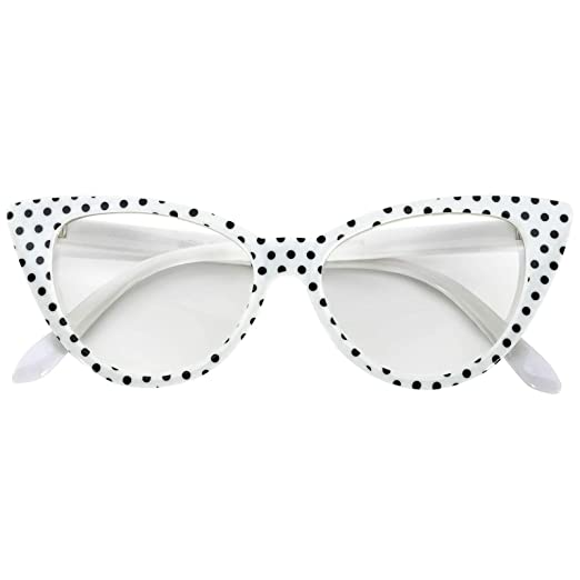 4eb43f823c Image Unavailable. Image not available for. Color: Vintage Cat Eye Clear  Lens Eyeglasses White Dots Frame OWL